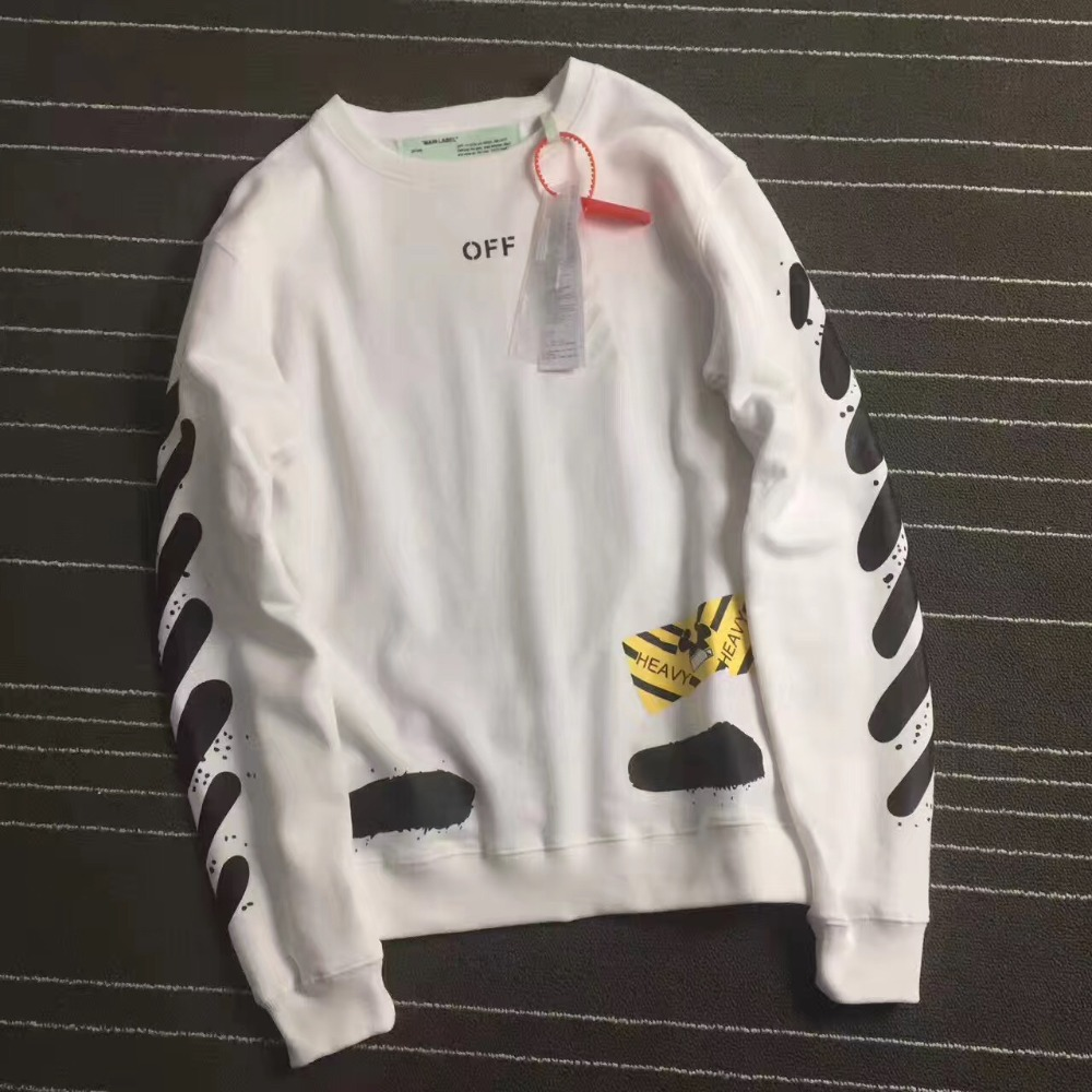 2017ss Off White hoodie Spray Stripe Yellow Graphic Mirror Mens Cotton virgil abloh Hoodie Spring Summe punk rock C/Osweatshirts