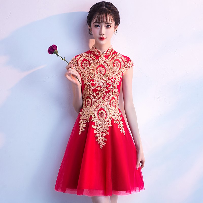 Vintage Chinese Style Mini Cheongsam Wedding Dress Retro Sexy Summer Slim Gown Marriage Qipao Party Evening Dress Vestido S XXXL