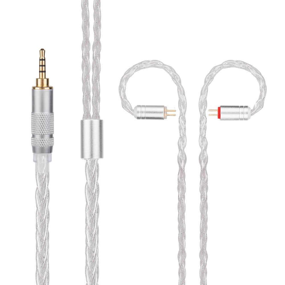 Nowy Yinyoo H3 H5 8 rdzeń ulepszona posrebrzane kabel słuchawek ze złączem MMCX/2pin dla Yinyoo HQ6 HQ8 QT2 ZS10 ES4 AS10 BA10 ZSN