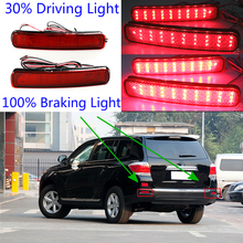 2PCS LED Rear Bumper Reflectors Brake Lights For Toyota Highlander 2011 2012 2013 6W Tail Lights Stop Lamps Warning lamps [ free shipping ] brand new led tail lamps led rear lights led tail lights for hyundai accent solaris verna 2013