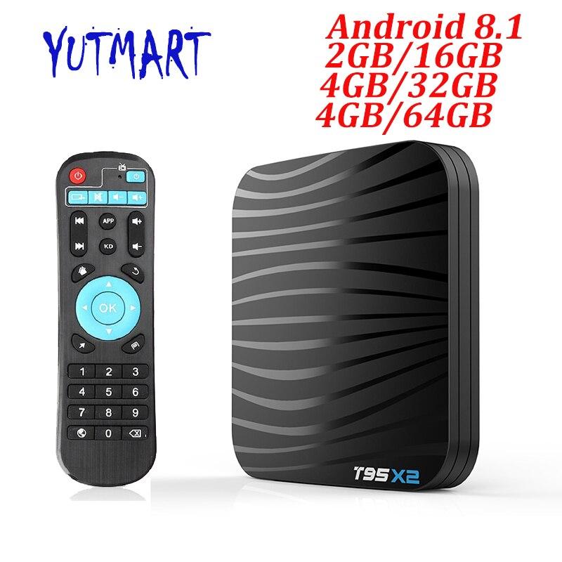 T95X2 Smart TV BOX Android 8.1 4GB 32GB 64GB Amlogic S905X2 Quad Core H.265 4K USB3.0 5G WIFI lecteur multimédia en option décodeur