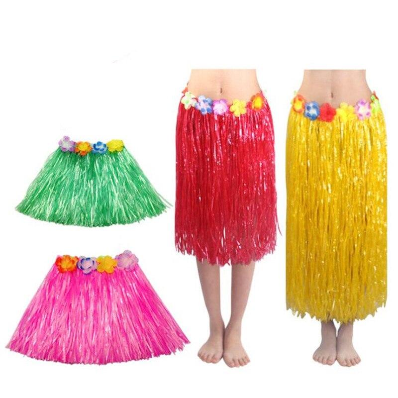 40cm 80cm longitud fibras de plástico faldas de hierba Hula falda trajes hawaianos mujeres vestido de niña para cumpleaños decoraciones bodas fiestas