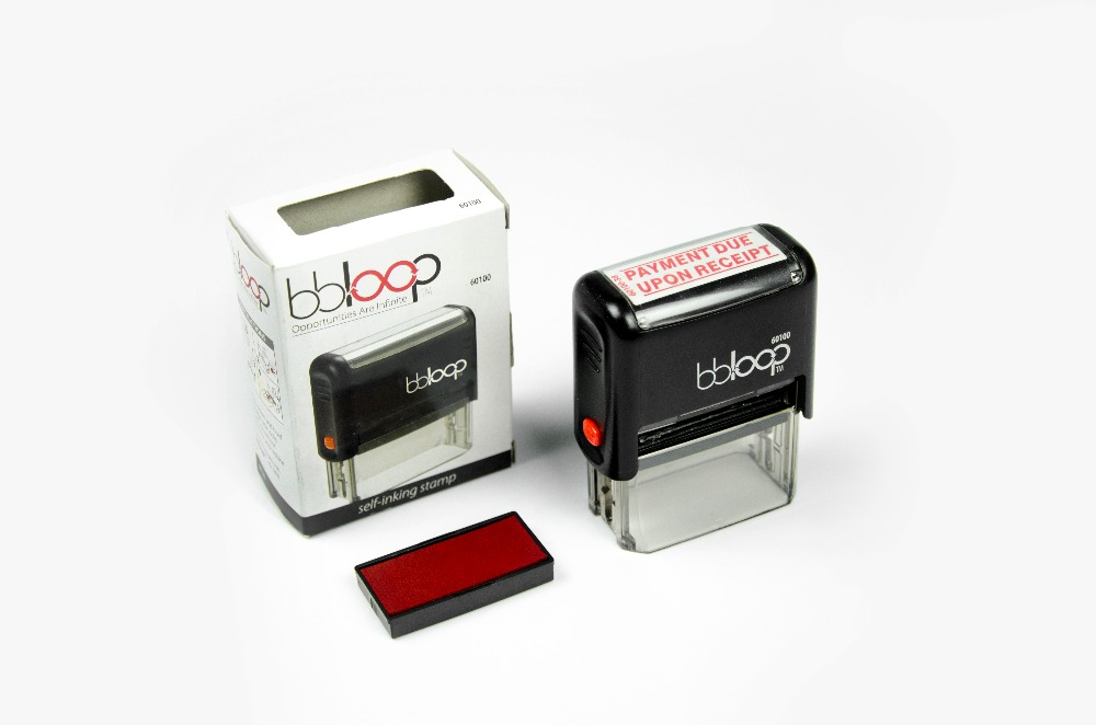 BBloop Stamp PAYMENT DUE UPON RECEIPT Self-Inking. Rectangular. Laser Engraved. RED tentazione due a3252 nero