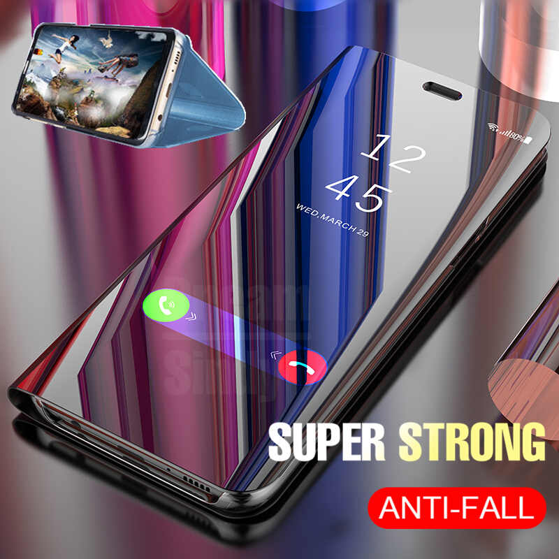 cheap for discount 2d44c f1376 Luxury Mirror Flip Case For Samsung Galaxy S7 Edge S8 Plus S9 Plus Note 8  Full Cover 360 degree Protector View Smart Phone Case