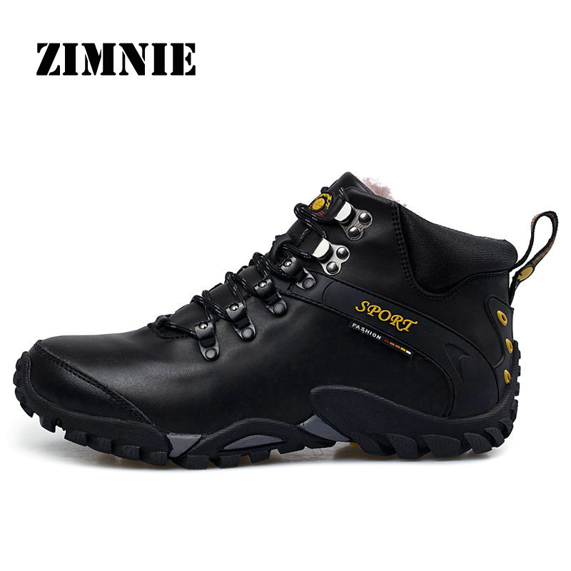 ZIMNIE Men Genuine Leather Waterproof Hiking Shoes Plus Fur Outdoor Trekking Shoes Camping Climbing Hunting Winter Boots Shoes 2016 men hiking outdoor winter camping shoes warm plush lining trekking hunting waterproof fish sneakers max size quality shoes