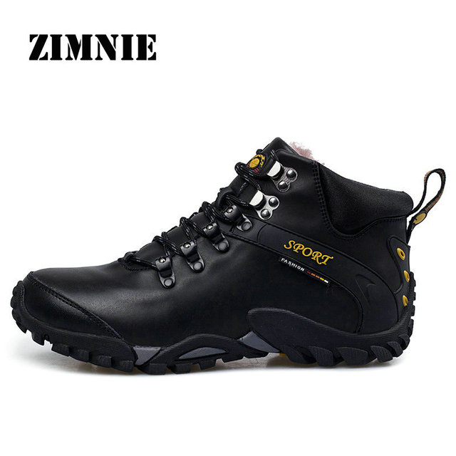 ZIMNIE Men Genuine Leather Waterproof Hiking Shoes Plus Fur Outdoor Trekking Shoes Camping Climbing Hunting Winter Boots Shoes