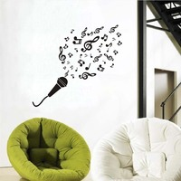 Art Vinyl Bedroom Decorative Wall Microphone Music Notes Wall Sticker Removable Vinyl Adhesive Home Decor