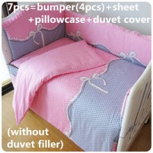 Discount! 6/7pcs Crib Bedding set Baby girl Cot set Quilt Cover Bumpers Fitted Sheet ,120*60/120*70cm