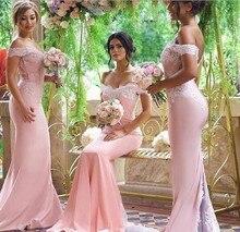 Off The Shoulder Mermaid Lace Applique Satin Pink Bridesmaid Dresses 2016 Robe Demoiselle D'honneur Zipper-Up Counrt Train BD67