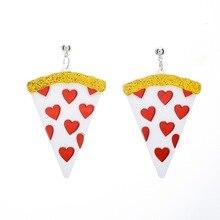Geometric Triangle Poker Pendant Earrings For Women Personality Long Red Heart Jewelry