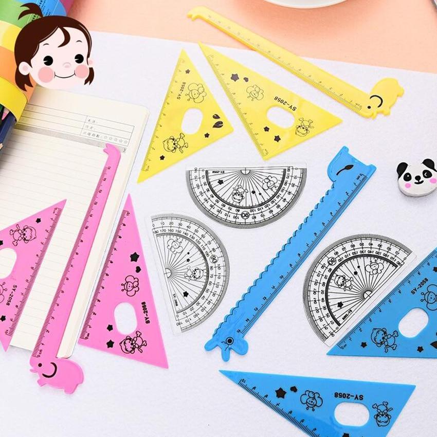 4pcs/set New Arrival ! Kawaii Ruler Set School Supplies Animal Cute School Tools Stationary Creative Cartoon Students Shape