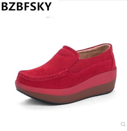 BZBFSKY2019 Flat Platform Ladies Elegant   Suede     Leather   Moccasins Shoes Woman Slip On Moccasin Women's blue Casual Shoes