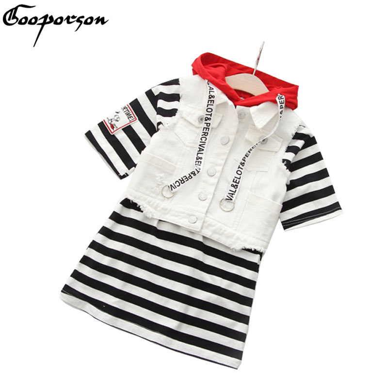 Baby Girl Kids Clothes Set Girls Vest And Striped Dress 2 Pcs Casual Autumn Spring Dresses Hooded Fashion 2018 New Brand Clothes fashion kids baby girl dress clothes grey sweater top with dresses costume cotton children clothing girls set 2 pcs 2 7 years