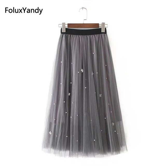 ebc765790a Mesh Skirts Women New Casual Plus Size 3 XL Embroidered Flares Midi Pleated  Skirt Gray Black KKFY227