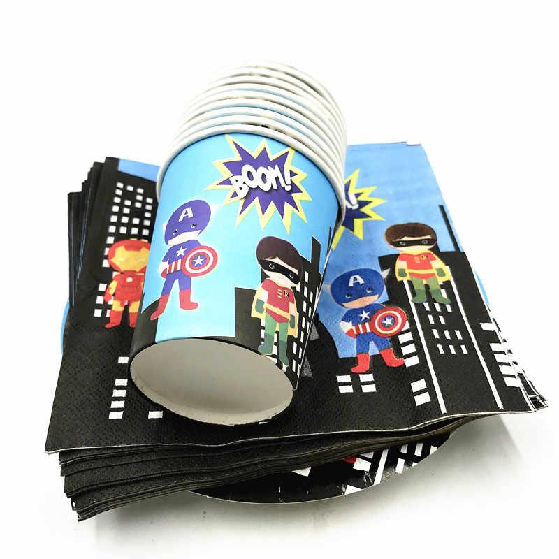 60 шт./лот супергероя одноразовые вечерние набор Мстители день рождения поставки супергероя тарелки чашки салфетки 20 люди используют