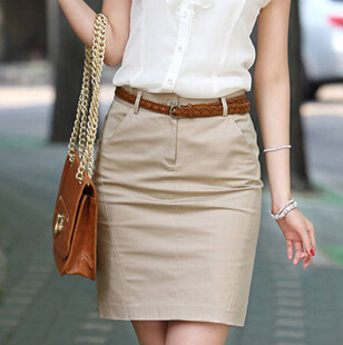 Mlxslky New Spring And Summer High Waist Ol Skirt Professional Skirt Package Hip With Pocket Skirt Handsome Appearance