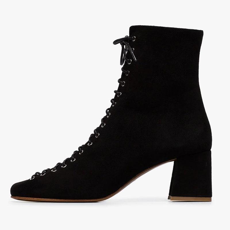 Ty01 Moda Pie Mujer Adulto 44 2019 Gran Cuadrado Damas Zapatos Vestido Dedo Invierno Cremallera Primavera Del Tamaño atado otoño Botas 45 De Tobillo xTxwpBqY