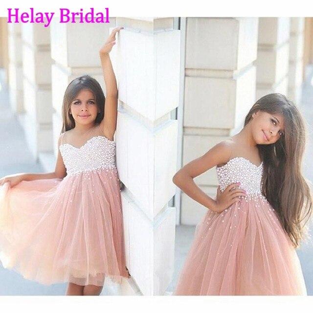 7c050810 Lujo tul partida Crystal perlas de Color champán flor vestidos niña 2016  chica vestido de fiesta