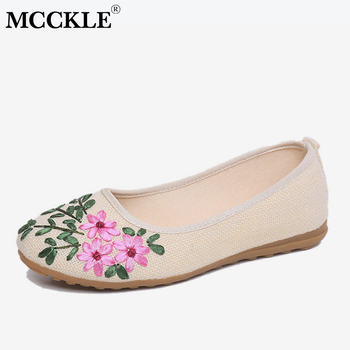 MCCKLE Flower Flat With Shoes Embroidery Loafers Autumn  Slip On Bohemia Style Women Moccasins Cotton Casual Ladies Footwear online shopping in pakistan with free home delivery
