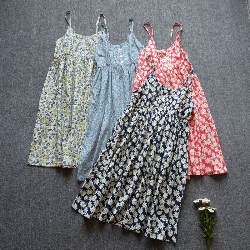 Cheap clothes china summer dress 2018 cotton spaghetti strap print casual dresses sale sundresses dresses free shipping