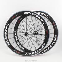 Newest EC90 700C 60mm Clincher Rims Road Bike Aero 3K Carbon Fibre Bicycle Wheelsets With Alloy