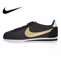 Original NIKE CLASSIC CORTEZ NYLON Men's Running Shoes Outdoor Sneakers Shoes Black & Gold Lightweight Breathable Low top