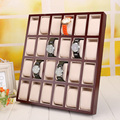 24-Grid Wood Lacquered Watch Display Tray Stand Holder with cushions
