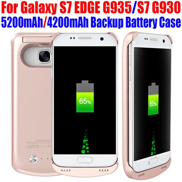 10 unids/lote fedex libre de la batería caja de batería para samsung galaxy s7 BORDE G935 S7 G930 5200 mAh 4200 mAh Cargador del Banco de Energía de Reserva S715