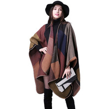Women Winter Cashmere Scarf Fashion Plaid Leopard Pattern Capes Thick Warm Knit Shawl And Blanket Scarves Ladies Poncho For Gift