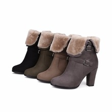WETKISS Brand Thick Plush Snow Ankle Boots Women Keep Warm Winter Boots Buckle Strap Side Zipper Thick High Heels Shoes Woman