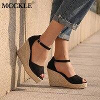 Mcckleプラスサイズボヘミアン女性サンダルアンクルストラップわらプラットフォームウェッジ用女性靴フロックハイヒールカバーヒールサンダ