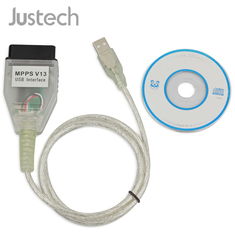 Justech SMPS MPPS V13.02 Interface VAG USB <font><b>Cable</b></font> With CD Driver For VW AUDI <font><b>BMW</b></font> Citroen Ecu Flasher OBDII OBD2 USB <font><b>Cable</b></font> image