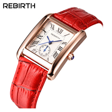 Top Brand REBIRTH Women's watch Lady Wristwacth Luxury Female Stylish Clock Business Elegant Leather Bracelet Quartz Watch 002