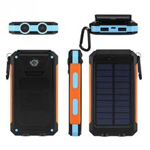 Portátil À Prova D' Água Poverbank Carregador 10000 mah Solar Power Bank Bateria Externa Com luz LED Duplo Bússola