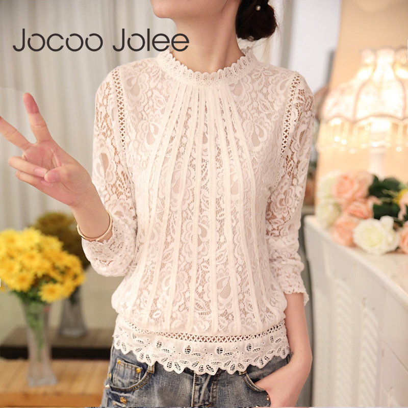 Jocoo Jolee Sexy Women Lace   Blouse     Shirts   Long Sleeve Chiffon Lace Crochet Tops Ladies White Blusas Clothing Feminine   Blouse