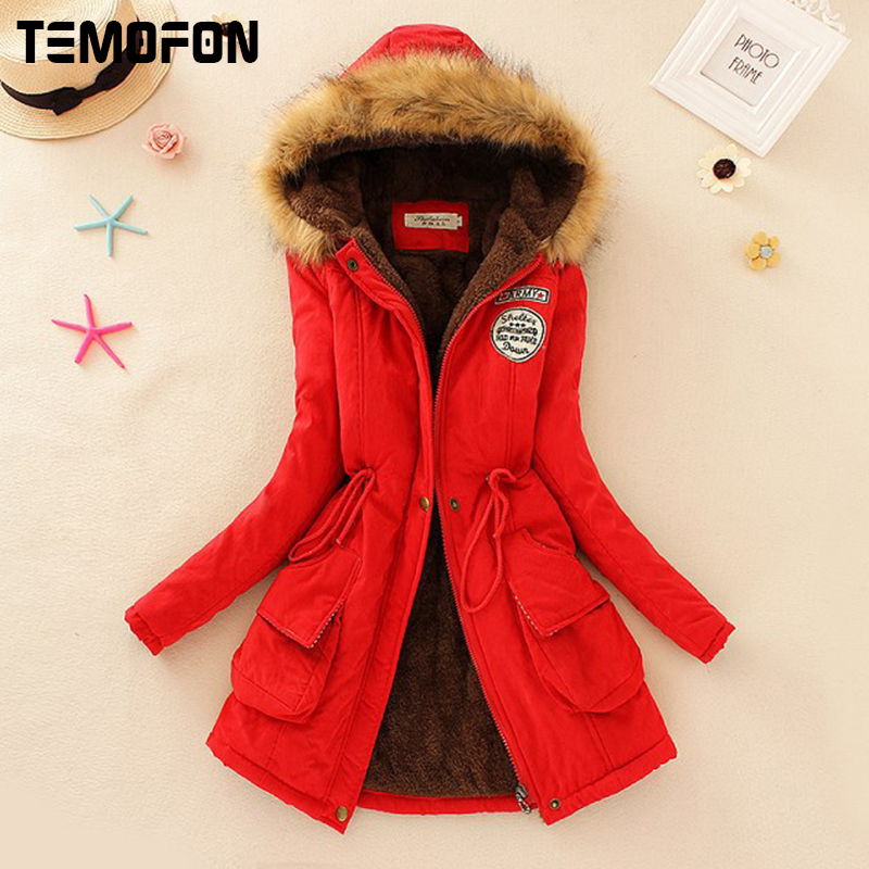 TEMOFON Hot Sale Solid Women Parka Coats Slim New Fashion Hooded Women Jackets Long Winter Warm