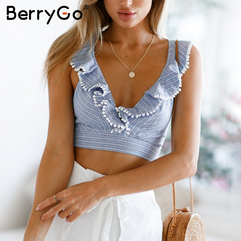 BerryGo Elegant ruffle stripe print   tank     top   Sexy V sleeveless summer crop   top   cami Women lace up casual camisole   tank   blouse