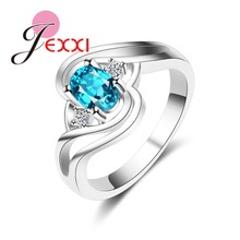 JEXXI Wholesale 925 Sterling Silver Rings For Women Jewelry Accessories Fashion Blue Cubic Zirconia Anillos For Female Bijoux