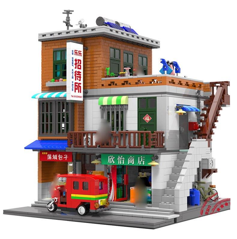 MOC Kreative Chinatown Serie Der Städtischen Dorf Set 2706 Stücke kompatibel legoinglys Stadt Mini Street View Bausteine Spielzeug