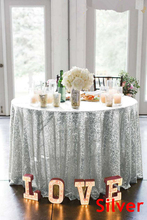 B·Y 50inch-125cm Round Sequin Tablecloth Silver Table Cover for Christmas Party Wedding decor-9525