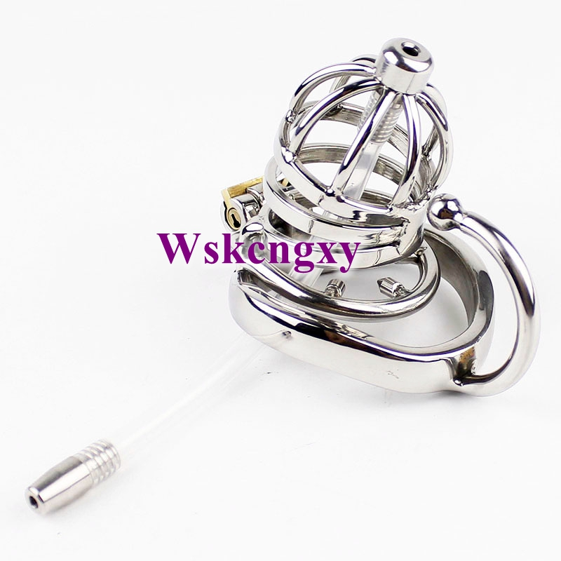 Male Chastity Device Stainless Steel Cock Cage With arc-shaped Cock Ring Catheter Spiked Ring BDSM Sex Toys For Men Penis Cage stainless steel small male chastity belt adult cock cage with arc shaped cock ring sex toys for men chastity device