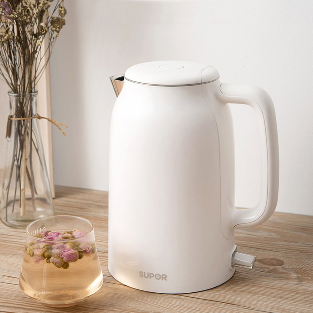 SUPOR Electric Kettle Simple White/Black Household Electric Kettle 1.7L Stainless Steel Water Boiler Anti-scalding Teapot SUPOR Electric Kettle Simple White/Black Household Electric Kettle 1.7L Stainless Steel Water Boiler Anti-scalding Teapot