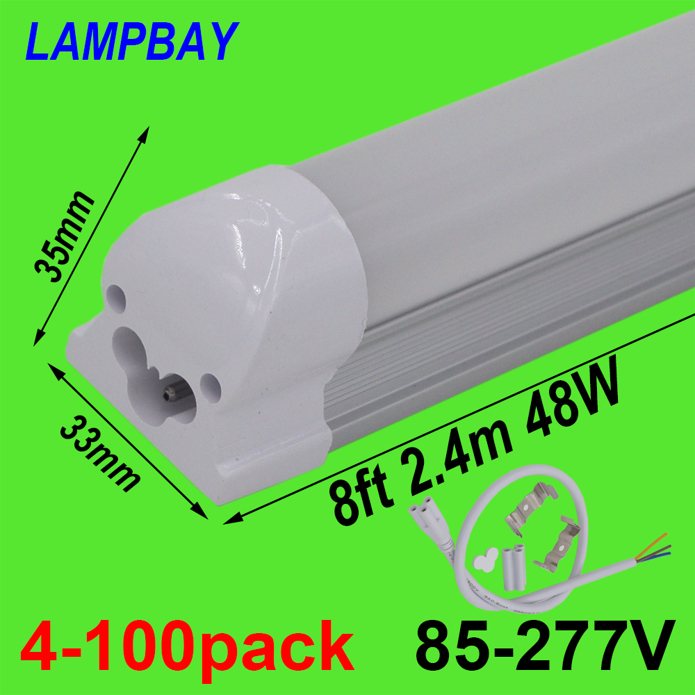 4-100pcs 8ft 2.4m T8 Integrated Bulb Fixture 40W 48W LED Tube Light with fittings Surface Mounted Bar Lamp Linear Lights 85-277V free shipping led tube t8 bulb 8ft 40w 110 277vac r17d converter replace ho fluorescent lamp light