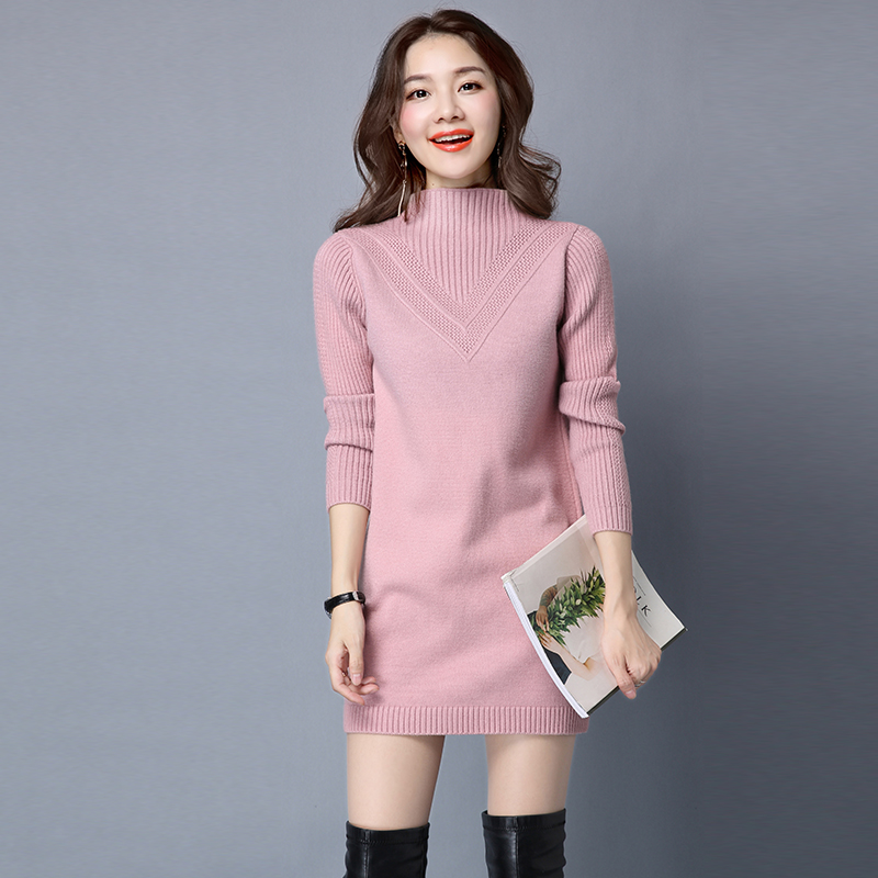 High Collar Womens Sweater Solid Color Winter Sweater Dress Ladies New Design Winter Long Sleeve Thick Knit Pullover Sweaters