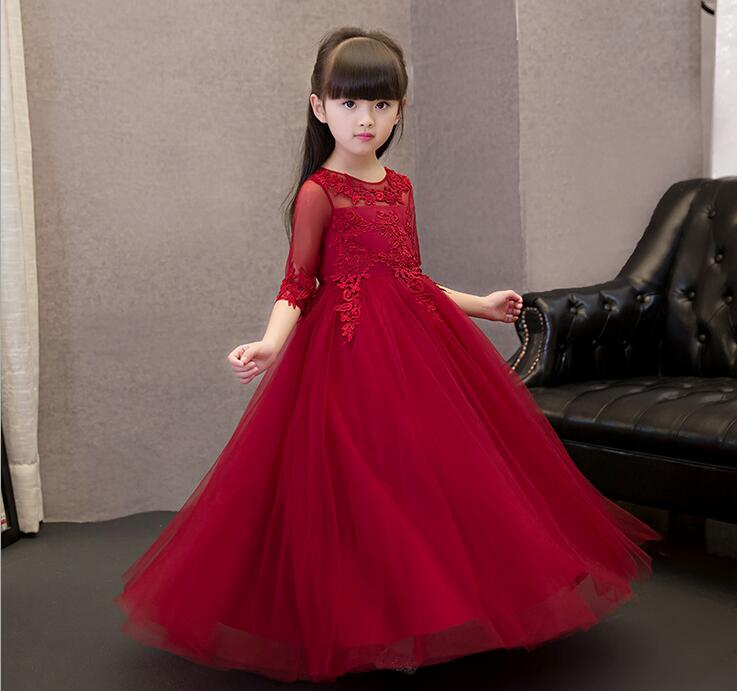 New Arrival Red Tulle Exquisite Lace Princess Girl Dress Kids Baptism Party  Prom dress Girls Wedding Birthday Gown -in Dresses from Mother   Kids on ... 447be3b8ed45