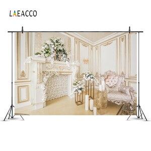 Image 3 - Laeacco odası iç şömine kanepe çiçek mum aile portre fotoğrafçılık arka plan noel arka planında fotoğraf stüdyosu için