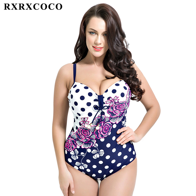 RXRXCOCO 2017 Newest One Piece Swimsuit Plus Size Swimwear Women Printed Sexy Summer Beach Wear Halter Push Up Bathing Suits 2017 new one piece swimsuit women vintage bathing suits halter top plus size swimwear sexy monokini summer beach wear swimming