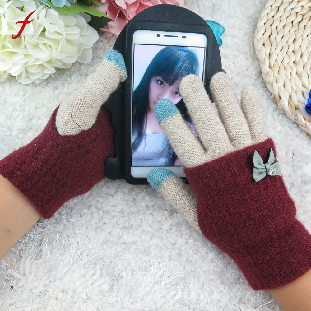 Для женщин Многофункциональный трикотажные Экран Зимние перчатки мягкие теплые варежки для смартфонов iPhone ноутбука Планшеты сенсорный те…