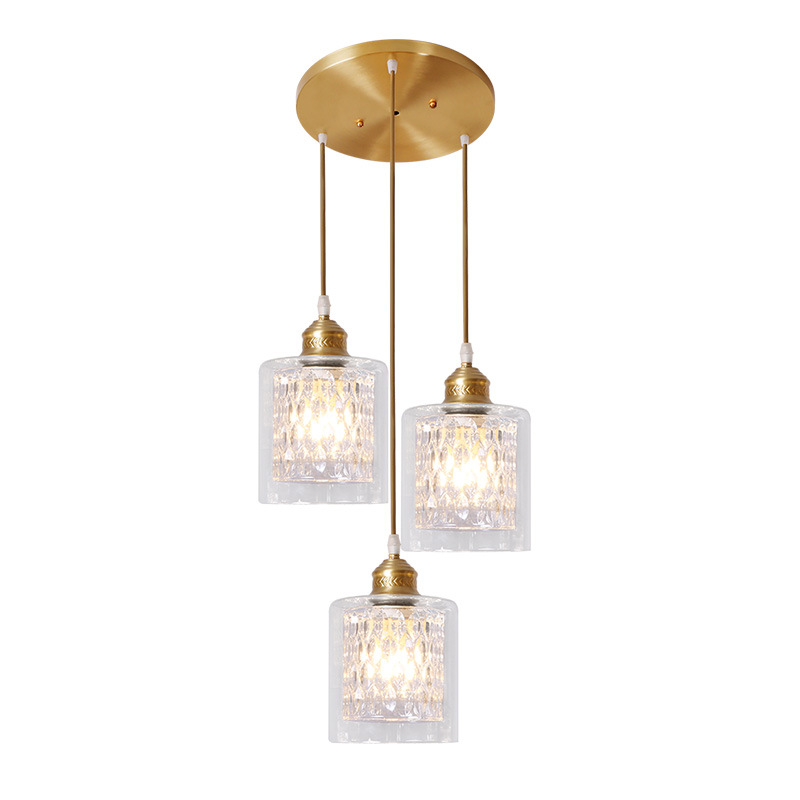 LukLoy Creative American Copper Restaurant Three-head Pendant Light Modern European Bar Western Restaurant Dining Table Lamp ring led minimalist european round pendant lamp three creative head table lamp crystal restaurant dining pendant light ta10173