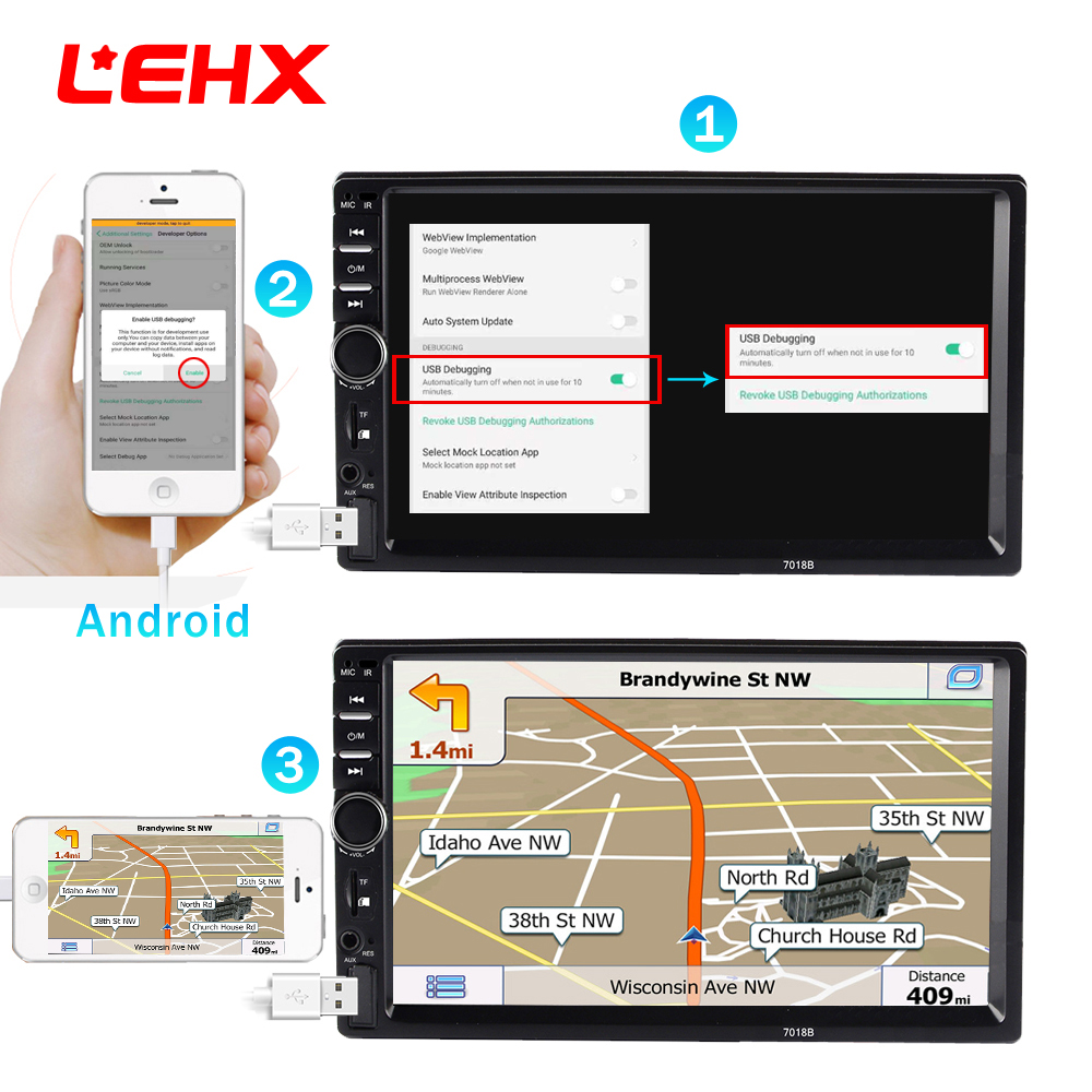 LEHX 2din 701M Car Radio 7 Touch in Dash Auto MP5 Audio font b Player b